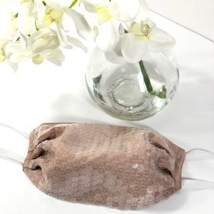 Nude sequin face mask